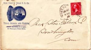 United States Massachusetts Boston 1900 numeral duplex  Blue Illustrated Adve...