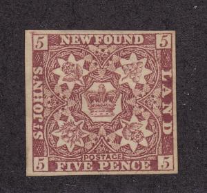Newfoundland Scott # 5 VF unused ( mint no gum ) nice color! see pic !