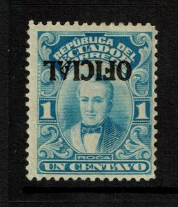 Ecuador SC# O184, inverted ovpt, Mint Hinged, Hinge Rem, shallow ctr thin S11307