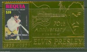 BEQUIA 2005 70th BIRTH ANNIVERSARY ELVIS PRESLEY GOLD FOIL STAMP MINT NH