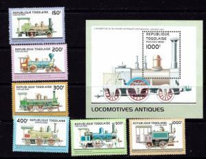 Togo 1778-83A NH 1996 Locomotivs with souvenir sheet
