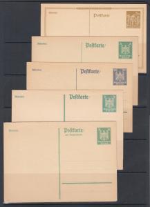 Germany Mi P154/P163I unused. 1923-25 Postal cards, 5 different, sound, F-VF