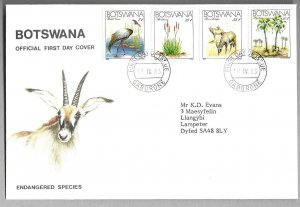 1983   BOTSWANA  -  SG.  541 / 544  -  BIRDS / ANIMALS  -  ON FIRST DAY COVER