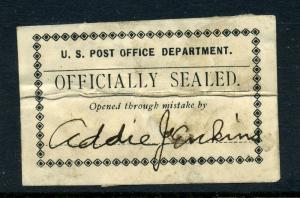 Scott #LOX2 Post Office Seal Postally Used *RARE ITEM*