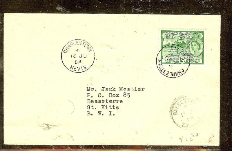 ST KITTS NEVIS (P2104B)  1954  QEII  2C CHARLESTOWN TO BASSETERRE