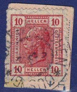 Austria - 1906 - Scott #92 - used on piece - POLLERSKIRCHEN pmk Czech Rep.