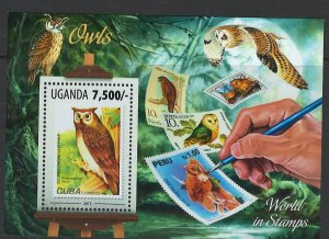 Uganda Scott 2082 MNH! Owls! Souv. Sheet!