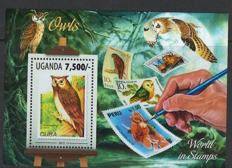 Uganda Scott 2082 MNH! Owls! Souv. Sheet!