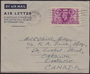 GB 1948 Olympic Games 6d air letter FIRST DAY CANCEL to Canada..............1264