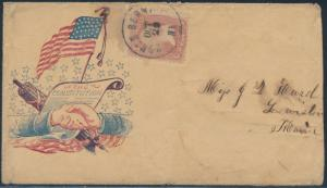 #65 S.O.N. CANCEL N. BERWICK, ME CDS CIVIL WAR PATRIOTIC COVER SCARCE VF BS1193
