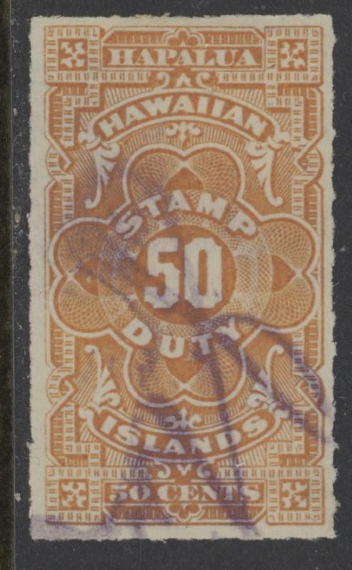 Hawaii R2 used w/pen cancel - 50 cents revenue stamp