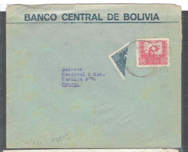 BOLIVIA (P2307BB) 1944 CHINCHILLA 80C+ 75C BISECT ON BANK COVER TO CRURO