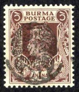 Burma Sc# 1N8 Used overprint 1942 1a Henzada Issue