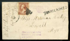 U.S. Scott 210 on 1880s NH Cover with UNCLAIMED and Pointing Finger Markings