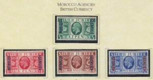 MOROCCO AGENCIES, BRITISH CURRENCY, 1935 Silver Jubilee set of 4, heavy hinged.