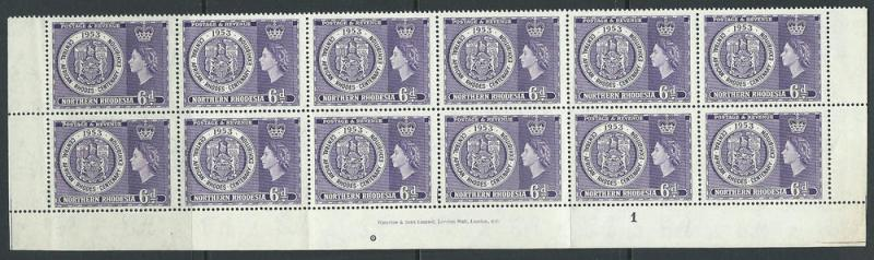 Northern Rhodesia  SG 59 MUH  Bottom Sheet Block x 12 Pla...
