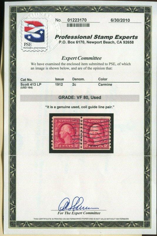 Scott 413 Washington Used Coil Line Pair of 2 Stamps w/PSE Cert (413-pse1)