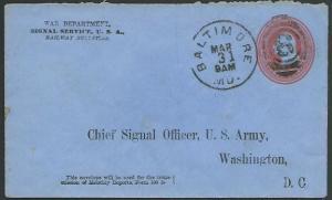 USA WAR DEPARTMENT 3c envelope, Signal Service, used Baltimore.............62467