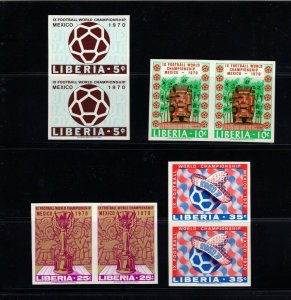Liberia 511-14( 1970 World Cup of Soccer set) VFMNH imperforate pairs
