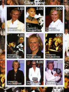 Tadjikistan 2001 GLEN CLOSE Sheet (9) Perforated Mint (NH)