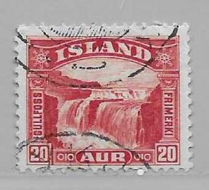 Iceland 171 1931-2 20a Falls single Used