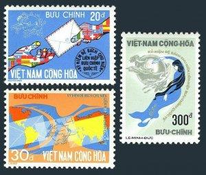 Viet Nam South 493-495,MNH.Michel 572-574. UPU-100,1974.Map,Bird.