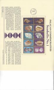 Palau Commemoratives Panel, Seashells No 1, FDC 1984