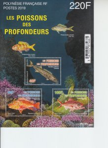 2019 Fr Polynesia Fish from the Depths MS3 (Scott NA) MNH