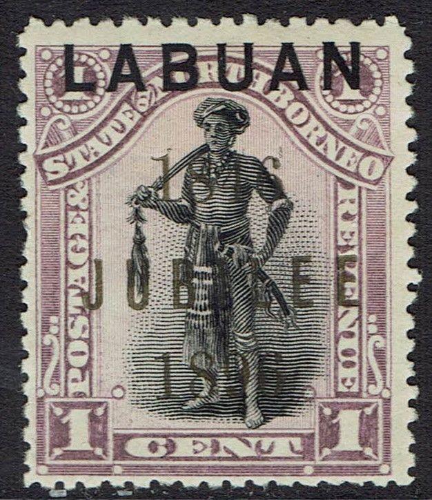 LABUAN 1896 JUBILEE OVERPRINTED 1C PERF 13.5 - 14