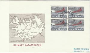 Denmark 1973 Map Picture Canceled Harbour Ships + Volcano Stamps Cover Ref 29535