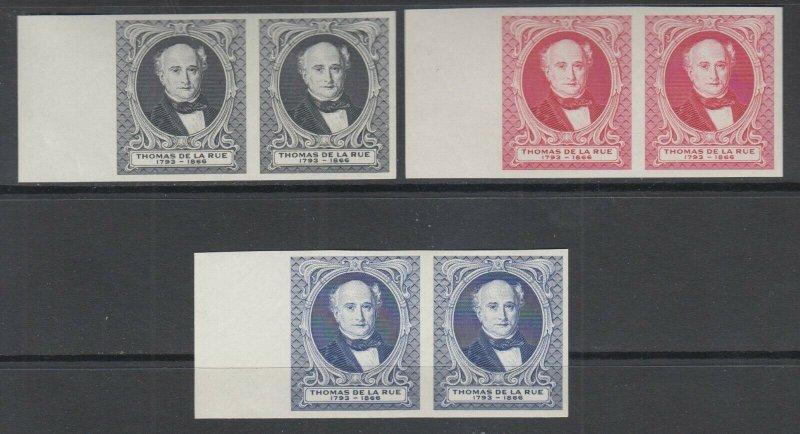 Great Britain MNH. c. 1880 Thomas de la Rue Portrait, Matched Sheet Margin Pairs