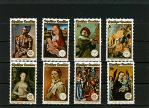 RWANDA 1974 Sc#594-601 PAINTINGS SET OF 8 STAMPS & S/S MNH
