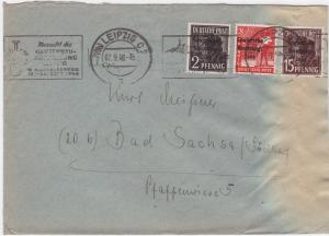 Germany Soviet Zone 1948 Leipzig to Bad Sachsa stamps cover  R20725