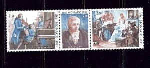 Monaco 1277a MNH 1981 Mozart strip of 3     #3