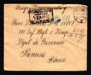 Germany 1917 POW Cover to France / Small Top Tear - Z14397