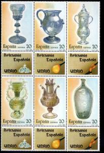SPAIN Scott 2552 MNH** Block of 6 with labels