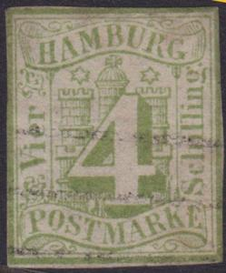 GERMANY HAMBURG - an old forgery of a classic stamp.........................4546