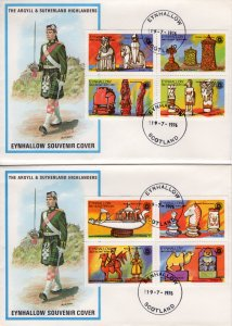 Eynhallow 1976 Chess Pieces-Rotary International Set (8) Perforated FDC..