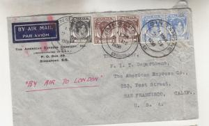 STRAITS SETTLEMENTS, 1938 Airmail cover to USA, Via London Red Jusqu'a