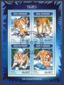 Mozambique 2014 Wild Cats Tigers Sheet Used / CTO