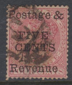 Ceylon 1885 Five Cents OP on 4c Rose Sc#117 Used