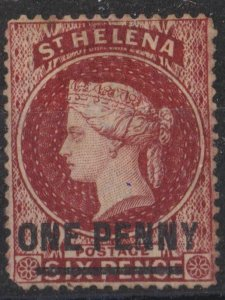 s0017) St. Helena. 1880. Unused SG 27 1d on 6d Lake. Type B. Royalty c£120