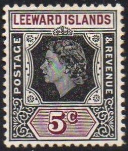 Leeward Islands 1954 5c black and brown-purple MH
