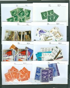 GREAT BRITAIN LOTS on 13 CARDS...SETS & MNH