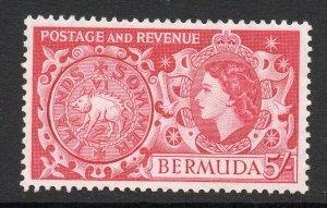 Bermuda 1953 QEII 5/- Tog Coin SG 148 mint