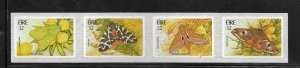 IRELAND, 938A, MNH, STRIP OF 4, SELF  ADHESIVE, MOTHS