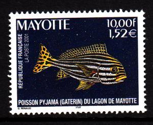 Mayotte MNH Scott #150 10fr Pajama fish (gaterin)