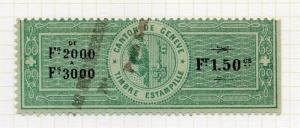 Switzerland 1902 Geneve Canton Commercial Goods Stamp Fine Used 1Fr.50c. 141977