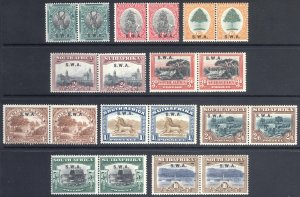 South West Africa 1927 1/2d-10s PAIRS SG 58-67 Sc 96-105 LMM/MLH Cat £225($295)