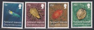 Falkland Islands # 1L76-79, Crustaceans, NH, 1/2 Cat.